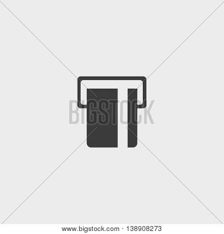 ATM card slot icon in a flat design in black color. Vector illustration eps10