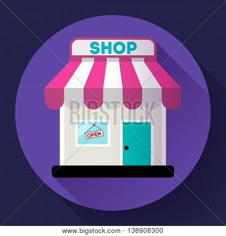 Store front vector icon Flat design small shopping center exterior illustration.