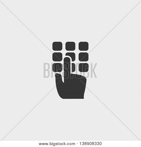 Hand on the ATM keyboard icon in a flat design in black color. Vector illustration eps10