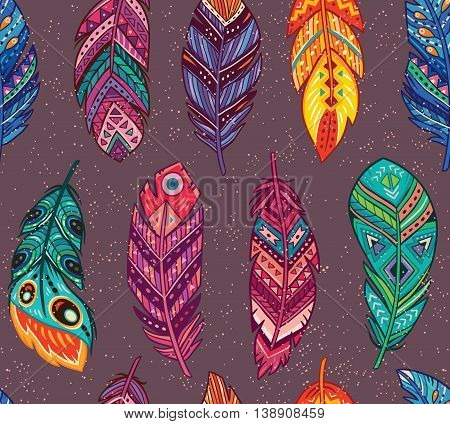Ethnic feathers seamless background. Bohemian style. Vector ethnic tribal feathers seamless background