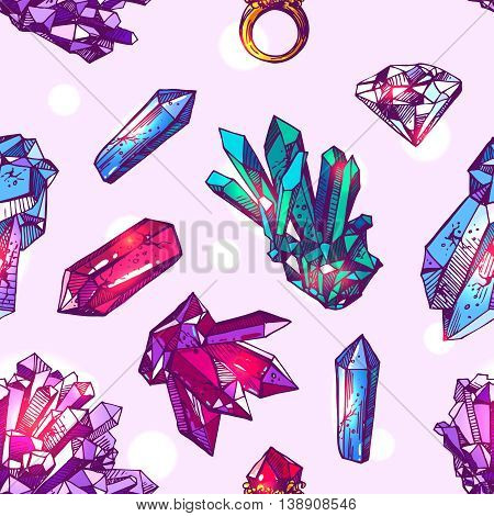 Beautiful hand drawn vector illustration sketching of crystals. Boho style seamless pattern. Use for postcards, print for t-shirts, posters, wedding invitation, tissue, linens