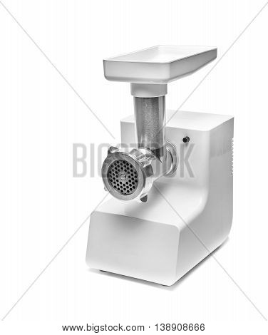 Electric meat white grinder over white background