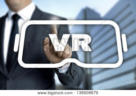 Man Draws Virtual Reality Glasses On Touchscreen