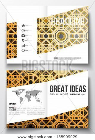 Set of business templates for brochure, magazine, flyer, booklet or annual report. Islamic gold pattern with overlapping geometric square shapes forming abstract ornament. Vector golden texture