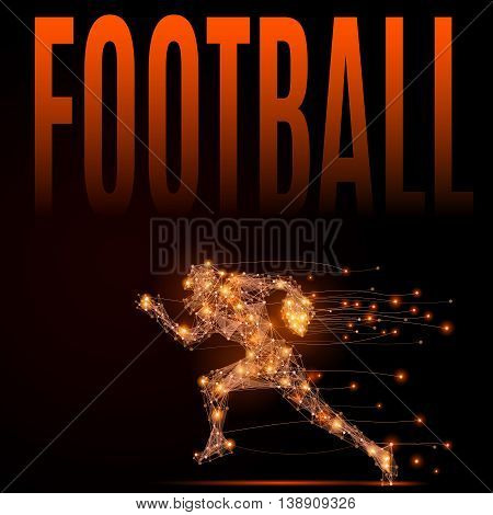 Abstract line football player in motion. Running silhouette of a man made of lines and points. Polygonal background football competitions. Fire style vector illustration