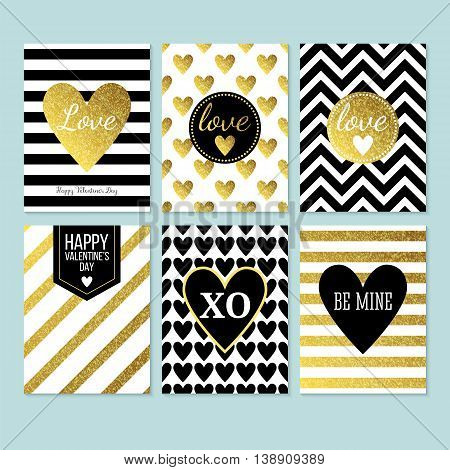 Modern creative Valentine's day cards in black gold and white. Isolated vector illustration