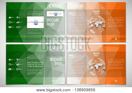 Set of tri-fold brochure design template on both sides with world globe element. Background for Indian Independence Day celebration with Ashoka wheel and national flag colors, vector illustration.