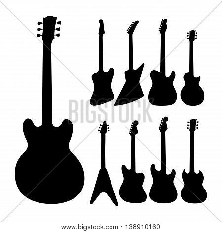 Black electric guitars silhouette on white background. Isolated musical equipment for entertainment and music band.