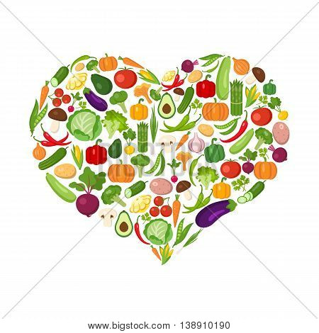 Heart shaped vegetables set on white. All the fresh and healthy vegetables including peas avocado, cucumber, lonion, broccoli, pepper, chili, tomato and more.
