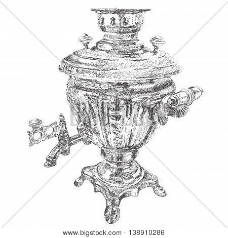 Russian samovar. vector hand drawn dotted graphic illustration EPS