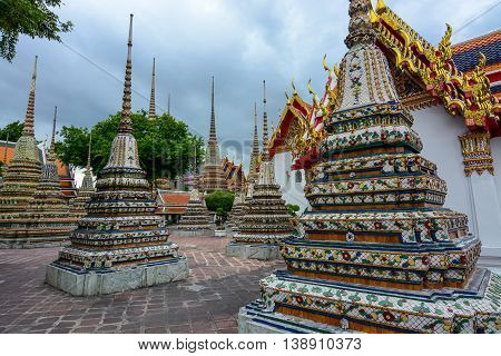 Bangkok, Thailand - June 30, 2016: Numerous chedis containing ashes from Thai royal family members at Wat Pho
