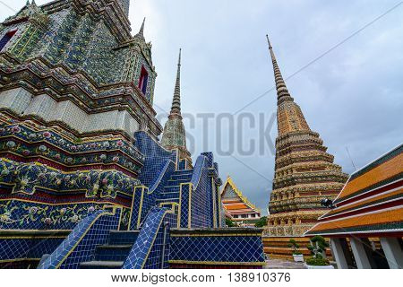 Bangkok, Thailand - June 30, 2016: Beautifully adorned giant blue chedi at Wat Pho in the Thai capital