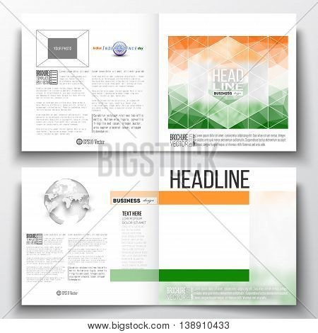 Set of annual report business templates for brochure, magazine, flyer or booklet. Background for Indian Independence Day celebration with Ashoka wheel and national flag colors, vector illustration.