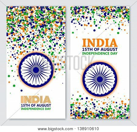 India Independence Day set of vertical banners in traditional colors - saffron green navy blue.