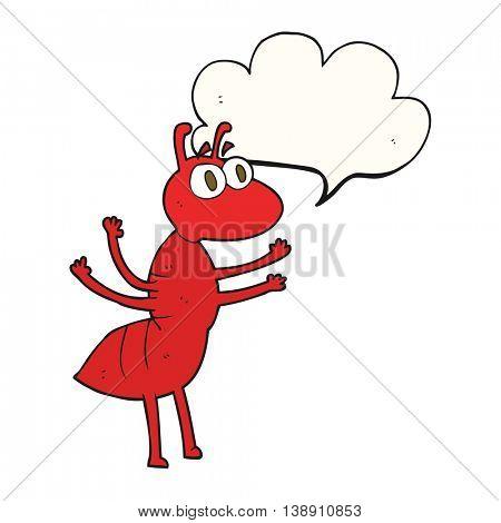 freehand drawn speech bubble cartoon ant