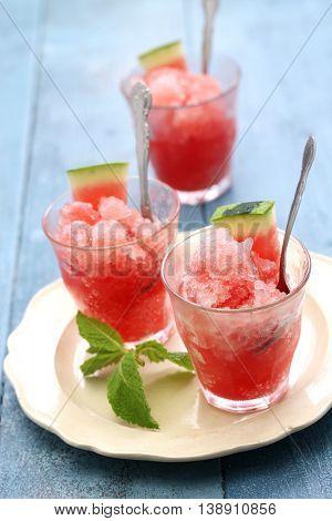 homemade watermelon ice sorbet granita