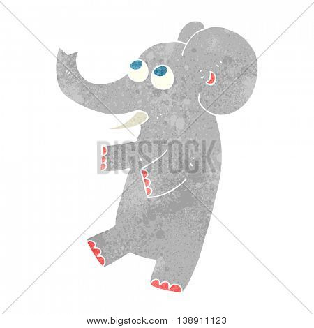 freehand retro cartoon cute elephant