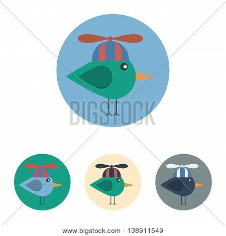 Vector set of icons with bird with propeller hat. Icons are in modern flat style in various colors without long shadows. Icons on a circular background for various use.