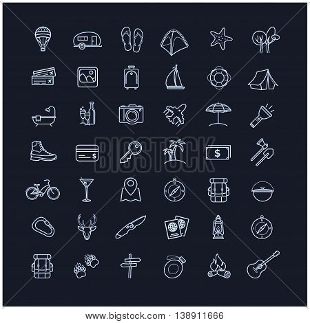 Travel icons set on a black background for your design