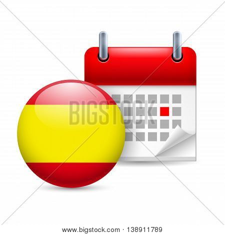 Calendar and round Spanish flag icon. National holiday in Spain