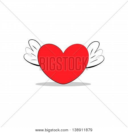 red heart with wings sketch vector icon isolated ranking mark. Modern simple flat favorite sign. Concept. Trendy sketch vector decoration symbol for web design web button mobile. Logo illustration