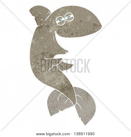 freehand retro cartoon laughing shark