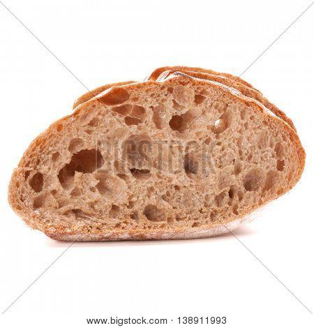 Slice of fresh ciabatta bread isolated on white background cutout