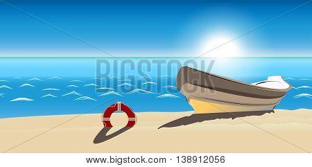 seascape boat sandy beach vector icon isolated ranking mark. Modern simple flat favorite sign. Trendy sketch decoration symbol for website design web banner mobile app. Logo illustration
