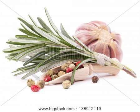 rosemary herb spice leaves, garlic and peppercorns isolated on white background cutout