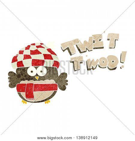 freehand retro cartoon cute owl saying twit twoo