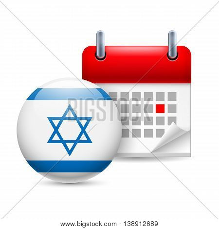 Calendar and round Israeli flag icon. National holiday in Israel
