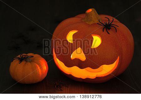 Halloween Jack O Lantern pumpkin decoration spiders candles