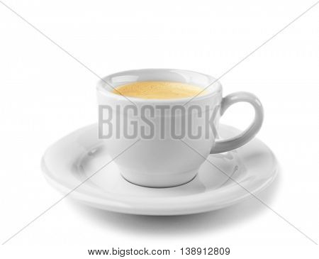 White cup of coffee and saucer on white background