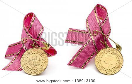 Front and back view of 1/4 Turkish gold coins with white ribbon isolated on white background.