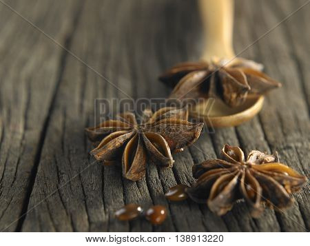 anise star on the wooden spoon