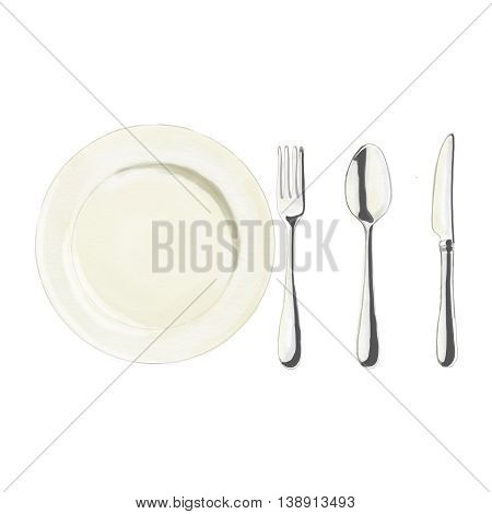 Watercolor illustration dish knife spoon and fork isolated on white background