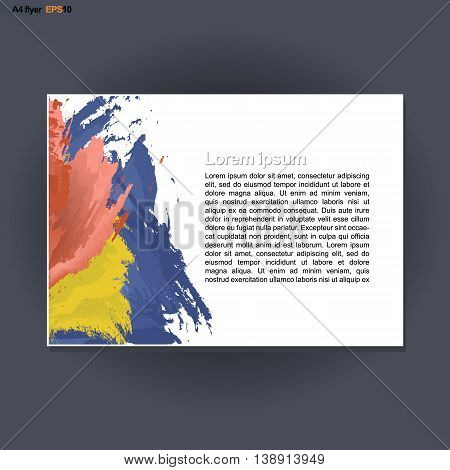 Abstract print A4 landscape design with blue red and yellow brush strokes for flyers banners or posters over silver background. Digital vector image.
