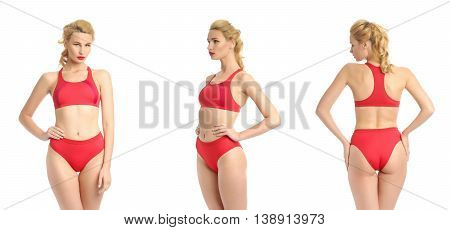 Beautiful Sexy Girl In A Red Bathing Suit Isolated On White