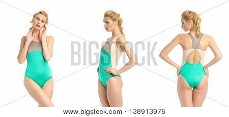 Beautiful Sexy Girl In A Bathing Suit Isolated On White