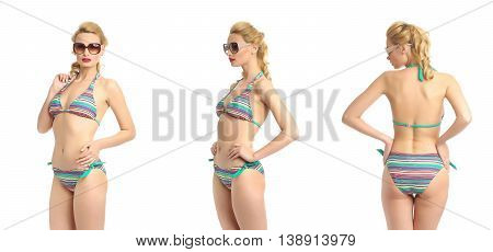 Beautiful Sexy Girl In A Mixed Bathing Suit Isolated On White
