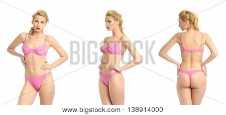 Beautiful Sexy Girl In A Pink Bathing Suit Isolated On White