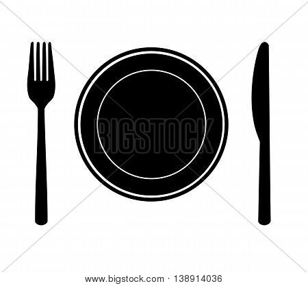 Plate with knife and fork - vector illustration.