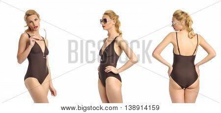 Beautiful Sexy Girl In A Brown Bathing Suit Isolated On White