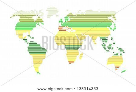 Colourful world silhouette with strips - vector illustration.