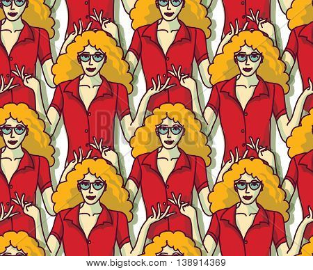 Blond pretty woman in red crowd color seamless pattern. Color vector illustration. EPS8
