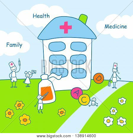Family stories: health and medicine. Linear, colored.