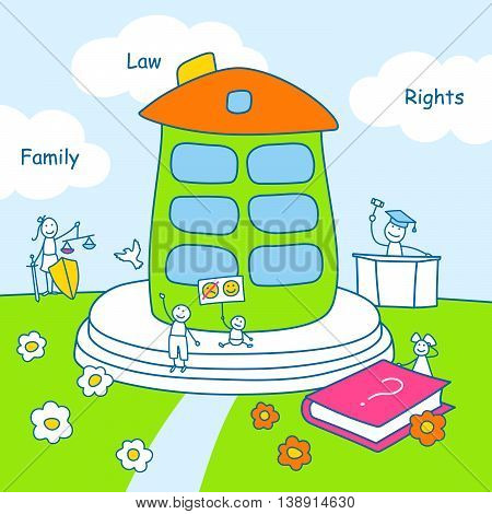 Family stories: law and rights. Linear, colored.