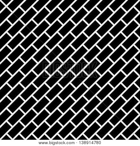 Geometric simple black and white minimalistic pattern, diagonal brick. Can be used as wallpaper, background or texture