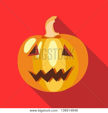 Halloween pumpkin icon in flat style on a red background