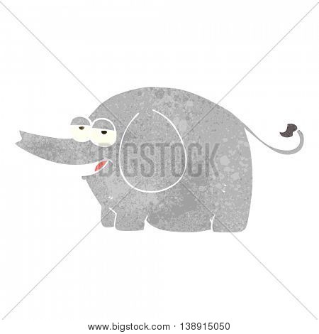 freehand retro cartoon elephant squirting water